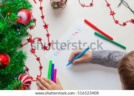Child Writing Letter Santa Claus Christmas Stock Photo (Edit Now