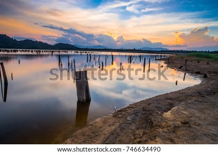 Clean Reflection Sunset View Lake Stock Photo (Edit Now) 746634490