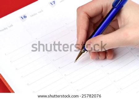 Closeup Woman Hand Writing Agenda Stock Photo (Edit Now) 25782076