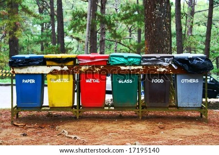 Color Coded Trash Bins Waste Segregation Stock Photo Edit