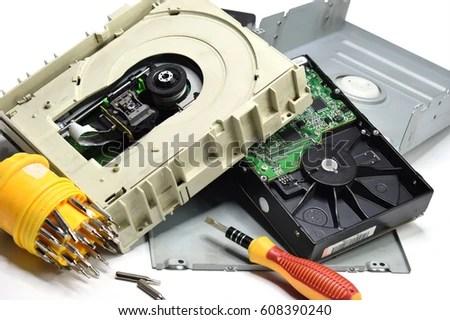 Computer Storage Devices Inside Cdrom Hard Stock Photo