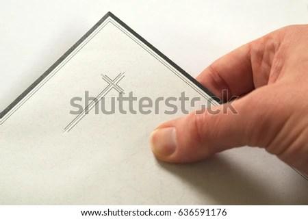 Condolences Hand Holding Envelope Invitation Funeral Stock Photo