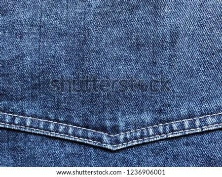 Denim Fabric Corner Yoke Double Stitching Stock Photo (Edit Now