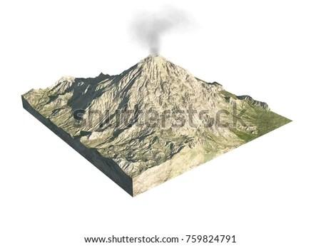 Digital Illustration Parts Volcano Stock Photo (Edit Now) 759824791