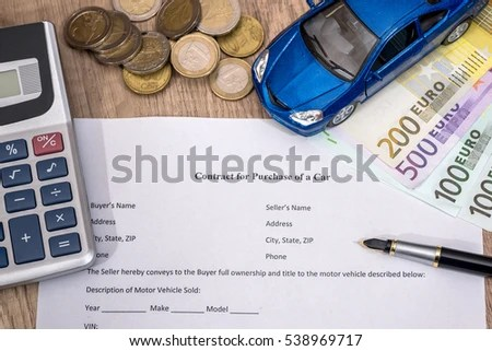 Document Buying Car Euro Pen Calculator Stock Photo (Edit Now