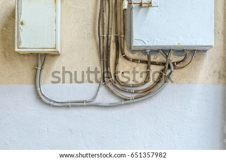 Electrical Switchboard On Wall Wiring Electrical Stock Photo (Edit