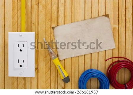 Equipment Tools Installing Electrical Outlets Switches Stock Photo
