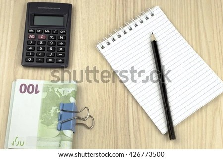 Family Budget Calculator Notepad Pencil Euros Stock Photo (Edit Now