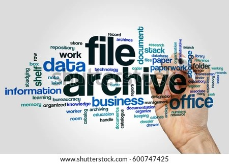 File Archive Word Cloud Concept On Stock Photo (Edit Now) 600747425