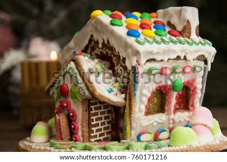 Gingerbread House Christmas Holiday Sweets European Stock Photo