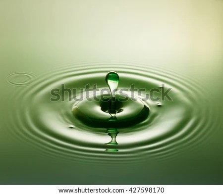 Green Plop Water Drop Photography One Stock Photo (Edit Now