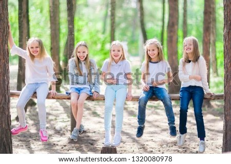Group Five Funny Girls Kids On Stock Photo (Edit Now) 1320080978