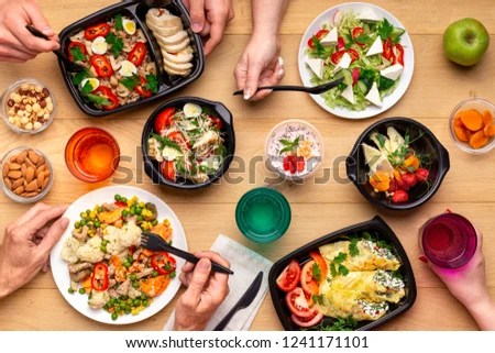 Healthy Lunch Time Office Workplace Four Stock Photo (Edit Now