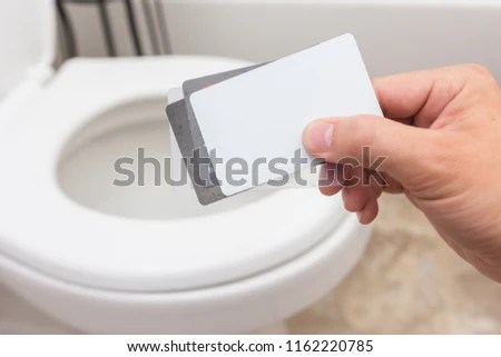 Holding Cluster Blank Cards Credit Card Stock Photo (Edit Now