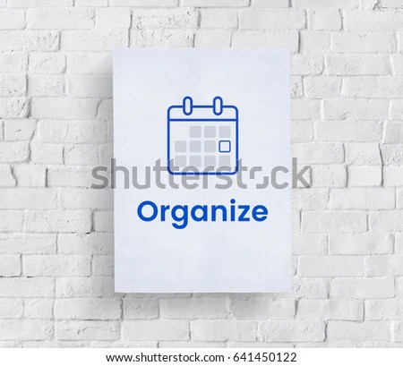 Illustration Personal Organizer Calendar On Brick Stock Photo (Edit