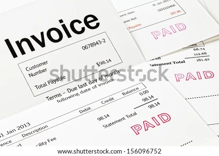 Invoice Paid Stamp Three Invoices Paid Stock Photo (Edit Now