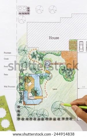 Landscape Architect Design Water Garden Plans Stock Photo (Edit Now