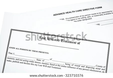 Last Will Advance Medical Directive Isolated Stock Photo (Edit Now