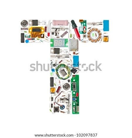 Letter T Made Electronic Components Isolated Stock Photo (Edit Now