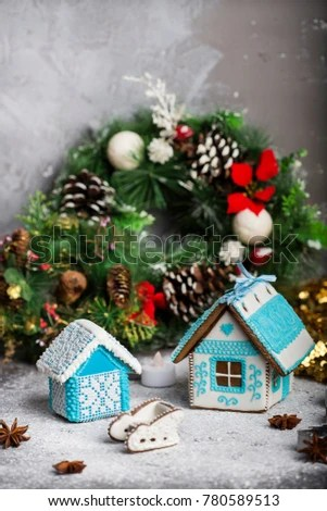Little Homemade Gingerbread House Christmas Decorations Stock Photo