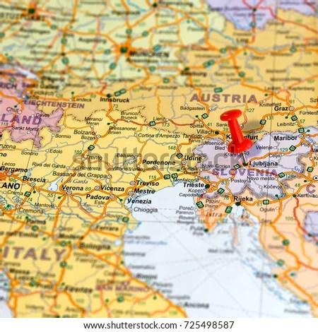 Ljubljana Pinned On Map Slovenia Stock Photo (Edit Now) 725498587