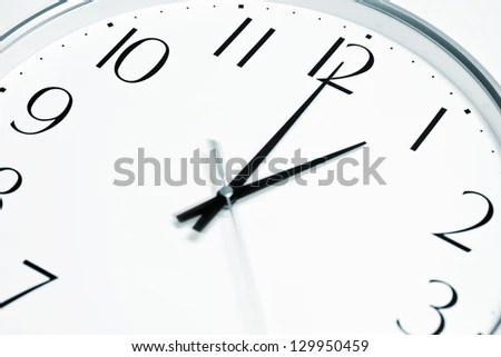 Lunch Time Clock Showing Lunch Break Stock Photo (Edit Now