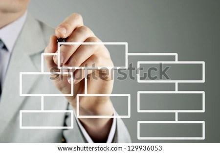 Man Business Suit Makes Block Diagram Stock Photo (Edit Now