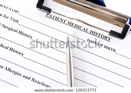 Medical Claim Form Patient Medical History Stock Photo (Edit Now