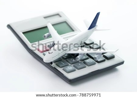 Miniature Airplane Model Calculator Travel Budget Stock Photo (Edit