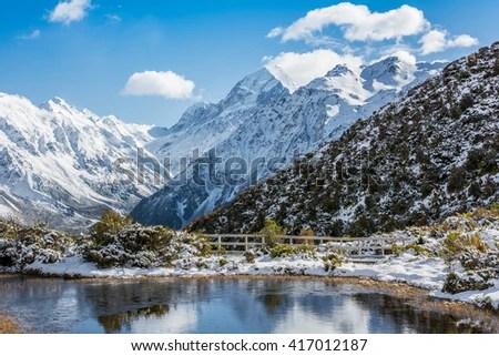 Mount Cook Mountain Peak Reflection Lake Stock Photo (Edit Now