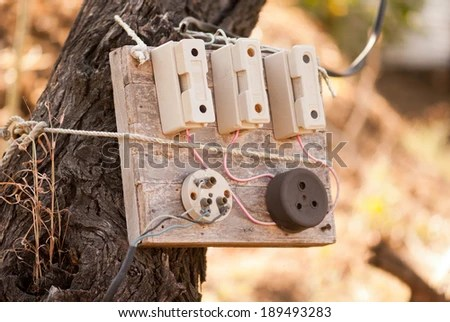 Old Electric Fuse Box On Tree Stock Photo (Edit Now) 189493283
