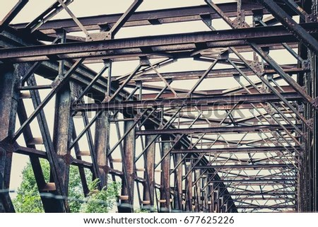 Old Rusty Steel Bridge Construction Rusted Stock Photo (Edit Now