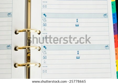 Open Agenda Sheet Addresses Stock Photo (Edit Now) 25778665
