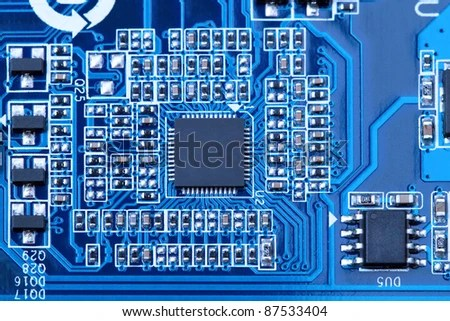 Part Motherboard Components Electronic Background Stock Photo (Edit