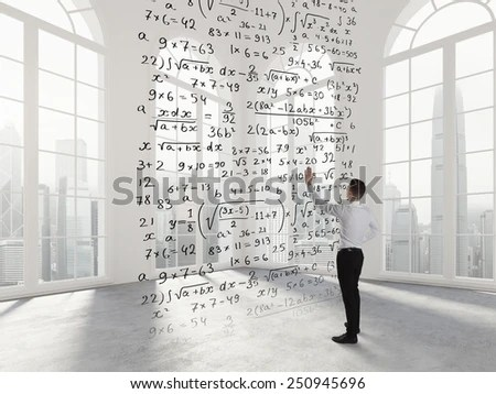 Person Write Math Formula Empty Space Stock Photo (Edit Now