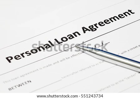 Personal Loan Agreement Form Document Stainless Stock Photo (Edit