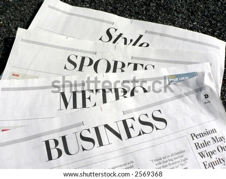 Photo Displaying Newspaper Sections Stock Photo (Edit Now) 2569368