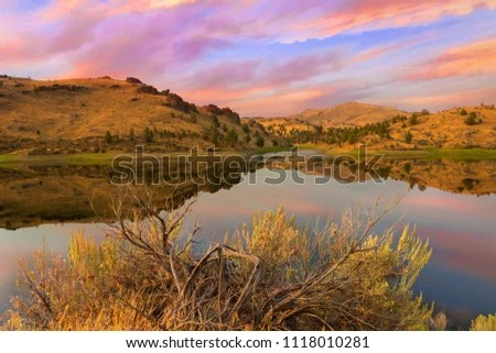 Reflection High Desert Landscape By Lake Stock Photo (Edit Now