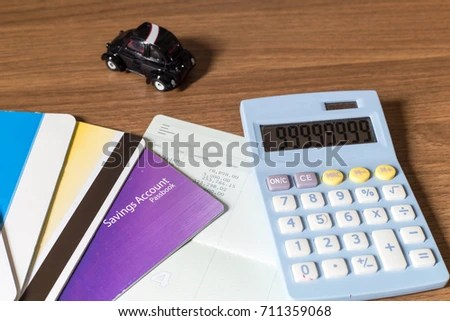 Saving Account Book Calculator Car On Stock Photo (Edit Now