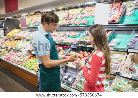 Shop Assistant Giving Advises Customer Grocery Stock Photo (Edit Now - shop assistan