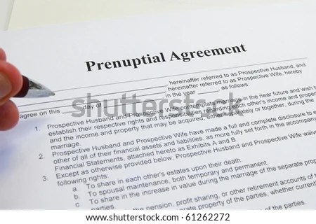 Signing Prenuptial Marriage Contract Stock Photo (Edit Now) 61262272