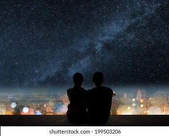Girl And Boy Romantic Wallpaper Under The Stars Images Stock Photos Amp Vectors Shutterstock