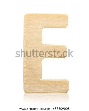 Single Capital Block Wooden Letter E Stock Photo (Edit Now
