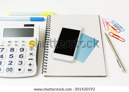 Smart Phone Credit Card Calculator Online Stock Photo (Edit Now