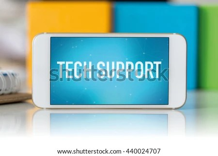 Smart Phone Which Displaying Tech Support Stock Photo (Edit Now