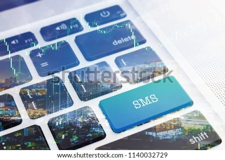 SMS SHORT MESSAGE SERVICE Green Button Stock Photo (Edit Now