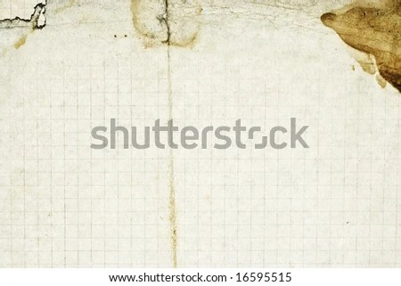 Squared School Paper Grunge Texture Folds Stock Photo (Edit Now