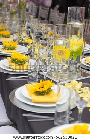 Sunflower Wedding Reception Party Table Decorations Stock Photo