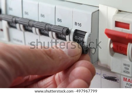 Switching MCB Micro Circuit Breaker On Stock Photo (Edit Now