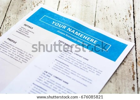 Template Resume On White Paper Blue Stock Photo (Edit Now) 676085821